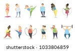 fat people exercising on white... | Shutterstock .eps vector #1033806859