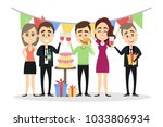 people at birthday party with... | Shutterstock .eps vector #1033806934