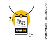 player one with dice tag id... | Shutterstock .eps vector #1033809670
