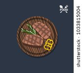 icon of steak on a wooden plate.... | Shutterstock .eps vector #1033815004