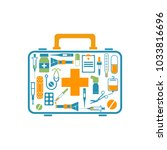 first aid kit box concept... | Shutterstock . vector #1033816696