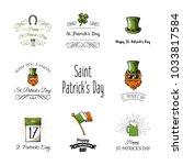 st patricks day labels set.... | Shutterstock .eps vector #1033817584