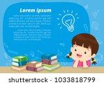 children girl thinking idea and ... | Shutterstock .eps vector #1033818799