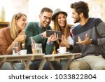 group of four friends having a... | Shutterstock . vector #1033822804