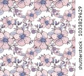 hand painted watercolor floral... | Shutterstock . vector #1033829629