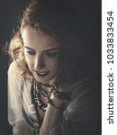 hippie posing. retro styled... | Shutterstock . vector #1033833454
