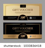 voucher template with gold and... | Shutterstock .eps vector #1033836418
