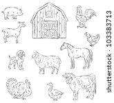 farm animals | Shutterstock .eps vector #103383713