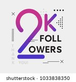 2k followers memphis colorful... | Shutterstock .eps vector #1033838350