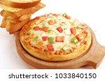 veg cheese pizza   garlic bread ... | Shutterstock . vector #1033840150