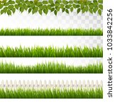 big collection of green grass... | Shutterstock .eps vector #1033842256