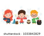 3 cute wizard kids with the pot ... | Shutterstock .eps vector #1033842829