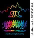 running people. let's run for... | Shutterstock .eps vector #1033845544