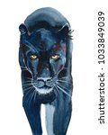 black jaguar watercolor... | Shutterstock . vector #1033849039