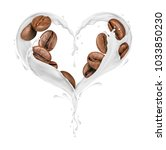 coffee beans with splashes of... | Shutterstock . vector #1033850230