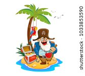 old pirate with a bottle of rum | Shutterstock .eps vector #1033853590