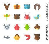 icon animals with spider  shark ... | Shutterstock .eps vector #1033863160
