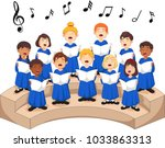 choir girls and boys singing a... | Shutterstock .eps vector #1033863313