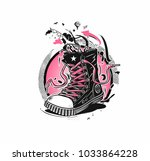 hipster sneakers in hand drawn... | Shutterstock .eps vector #1033864228