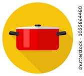 casserole  red saucepan on... | Shutterstock .eps vector #1033864480