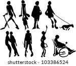set of people silhouettes | Shutterstock .eps vector #103386524