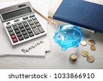 piggy bank  coins and... | Shutterstock . vector #1033866910