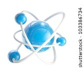 Science and nano technology glossy emblem as atomic structure isolated on white - stock photo