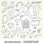arrow doodles. hand drawn.... | Shutterstock .eps vector #103387640