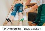 doctor with electrocardiogram...   Shutterstock . vector #1033886614