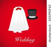 wedding card  wedding veil and... | Shutterstock .eps vector #103390910