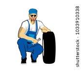 man work car repair shop logo | Shutterstock .eps vector #1033910338