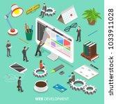 web development flat isometric... | Shutterstock . vector #1033911028