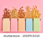 colorful boxes of cornflakes or ...   Shutterstock . vector #1033915210