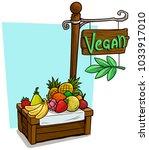 cartoon fruit vendor booth or... | Shutterstock .eps vector #1033917010