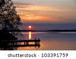 Sunset Over Lake With...
