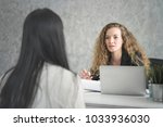 young woman applicant and human ... | Shutterstock . vector #1033936030
