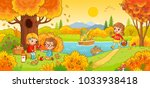 Boys and girls on a picnic. Children in the woods and fishing. Vector illustration in children`s style. | Shutterstock vector #1033938418
