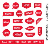 red new stickers  labels and... | Shutterstock .eps vector #1033942393