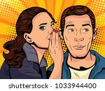 woman telling secret to man.... | Shutterstock . vector #1033944400