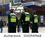 Small photo of Police officer on duty on a city centre during special event.