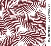 burgundy color palm leaves on a ... | Shutterstock .eps vector #1033950799