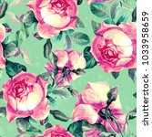 floral  rose  seamless pattern... | Shutterstock . vector #1033958659