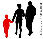 silhouette of happy family on a ... | Shutterstock .eps vector #1033964350