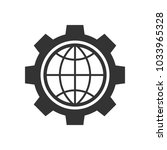 global setting black icon on... | Shutterstock . vector #1033965328
