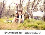child near the woods using... | Shutterstock . vector #103396670