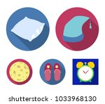 night cap  pillow  slippers ... | Shutterstock .eps vector #1033968130