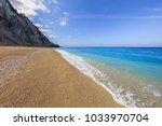 the beautiful beach of egremni  ... | Shutterstock . vector #1033970704