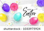 happy easter background with... | Shutterstock .eps vector #1033975924