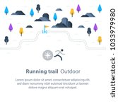 outdoor running  trail map with ... | Shutterstock .eps vector #1033979980