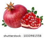 fresh pomegranate isolated on... | Shutterstock . vector #1033981558